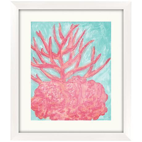 "Pink Coral 22 1/2"" High Framed Coastal Giclee Wall Art"