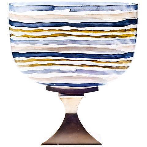 "Rojo 16 Costa Brava Striped 13 1/2"" HIgh Small Glass Vase"