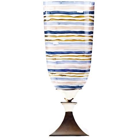 "Rojo 16 Costa Brava Striped 19"" High Medium Glass Vase"
