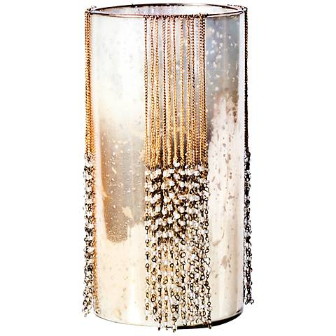 Rojo 16 Costa Brava Small Beaded Glass Pillar Candle Holder