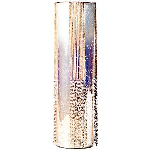 Rojo 16 Costa Brava Large Beaded Glass Pillar Candle Holder