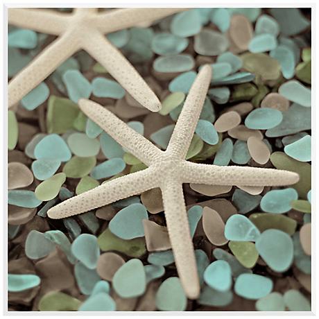 "Sea Shells I 17 3/4"" Square Giclee Laminate Box Wall Art"