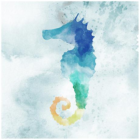 """Watercolor Seahorse 12"""" Square Canvas Giclee Wall Art"""