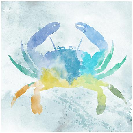 """Watercolor Crab 12"""" Square Canvas Giclee Wall Art"""