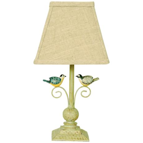out on a limb scrolling birds antique white table lamp. Black Bedroom Furniture Sets. Home Design Ideas