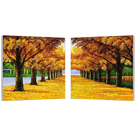 "Set of 2 Autumnal Boulevard 19 3/4"" Square Wall Art"