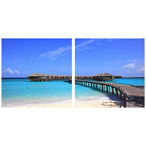 "Set of 2 Bridge to Paradise 19 3/4"" Square Canvas Wall Art"