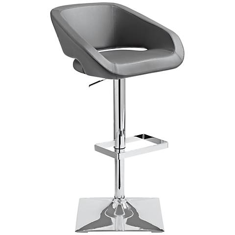Gustavo Chrome and Gray Swivel Seat Adjustable Barstool