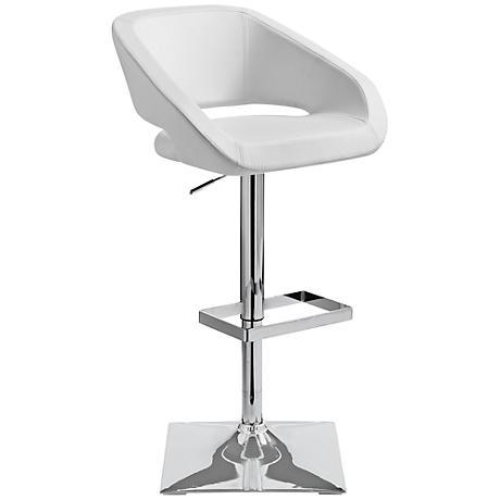 Gustavo Chrome and White Adjustable Barstool