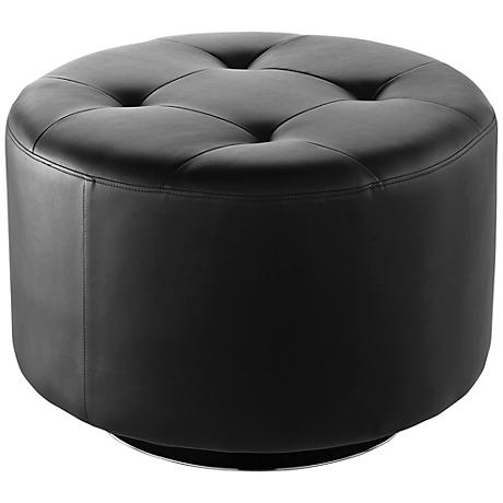Domani Large Black Swivel Ottoman