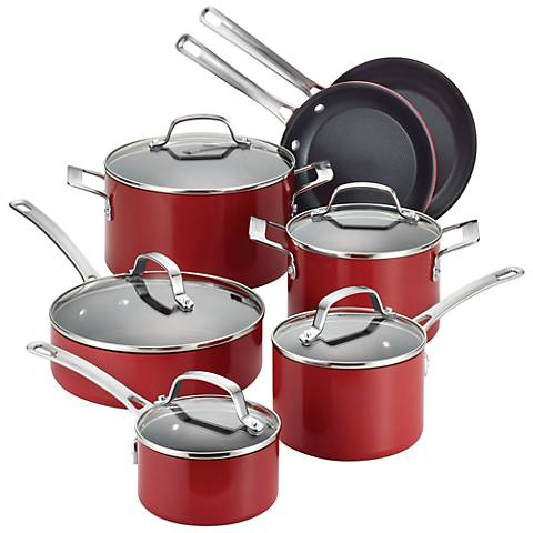 Circulon Genesis Nonstick 12-Piece Red Cookware Set