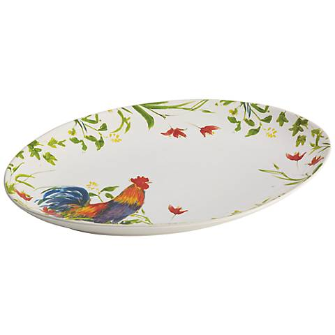 BonJour Dinnerware Meadow Rooster Stoneware Oval Platter
