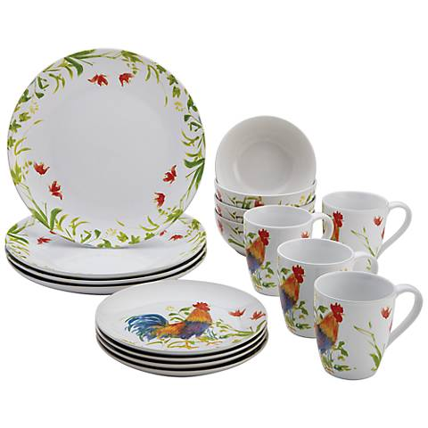 BonJour Dinnerware Meadow Rooster Stoneware 16-Piece Set