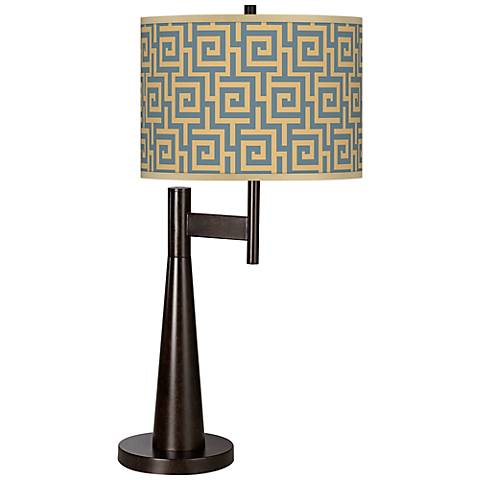 Greek Key Storm Giclee Novo Table Lamp