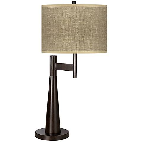Burlap Print Giclee Novo Table Lamp