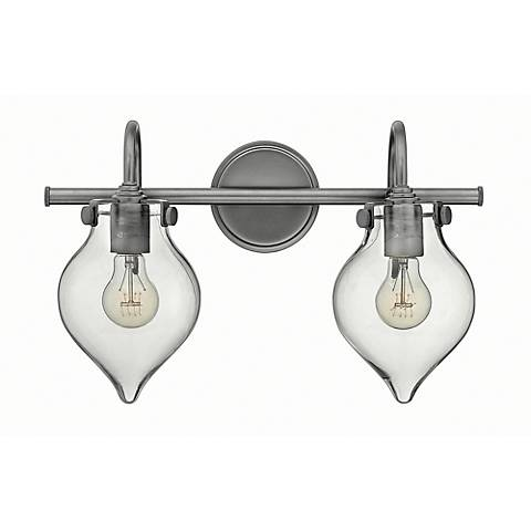 "Congress 19 1/4""W Clear Glass Antique Nickel Bath Fixture"