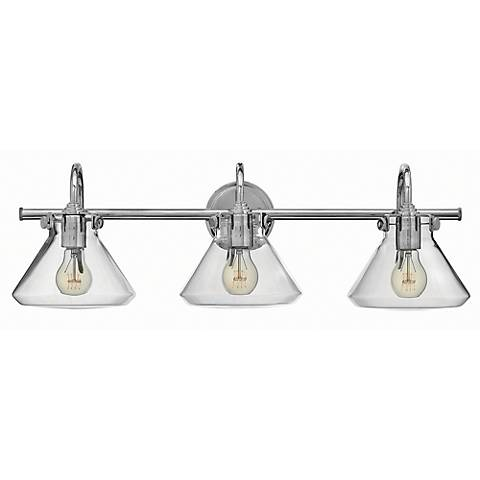 "Hinkley Congress 29 1/2""W Clear Glass Chrome Bath Light"