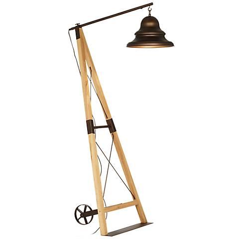 Industrial Bell Metal and Wood Floor Lamp