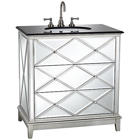 Criss Cross Mirrored Single Sink Vanity