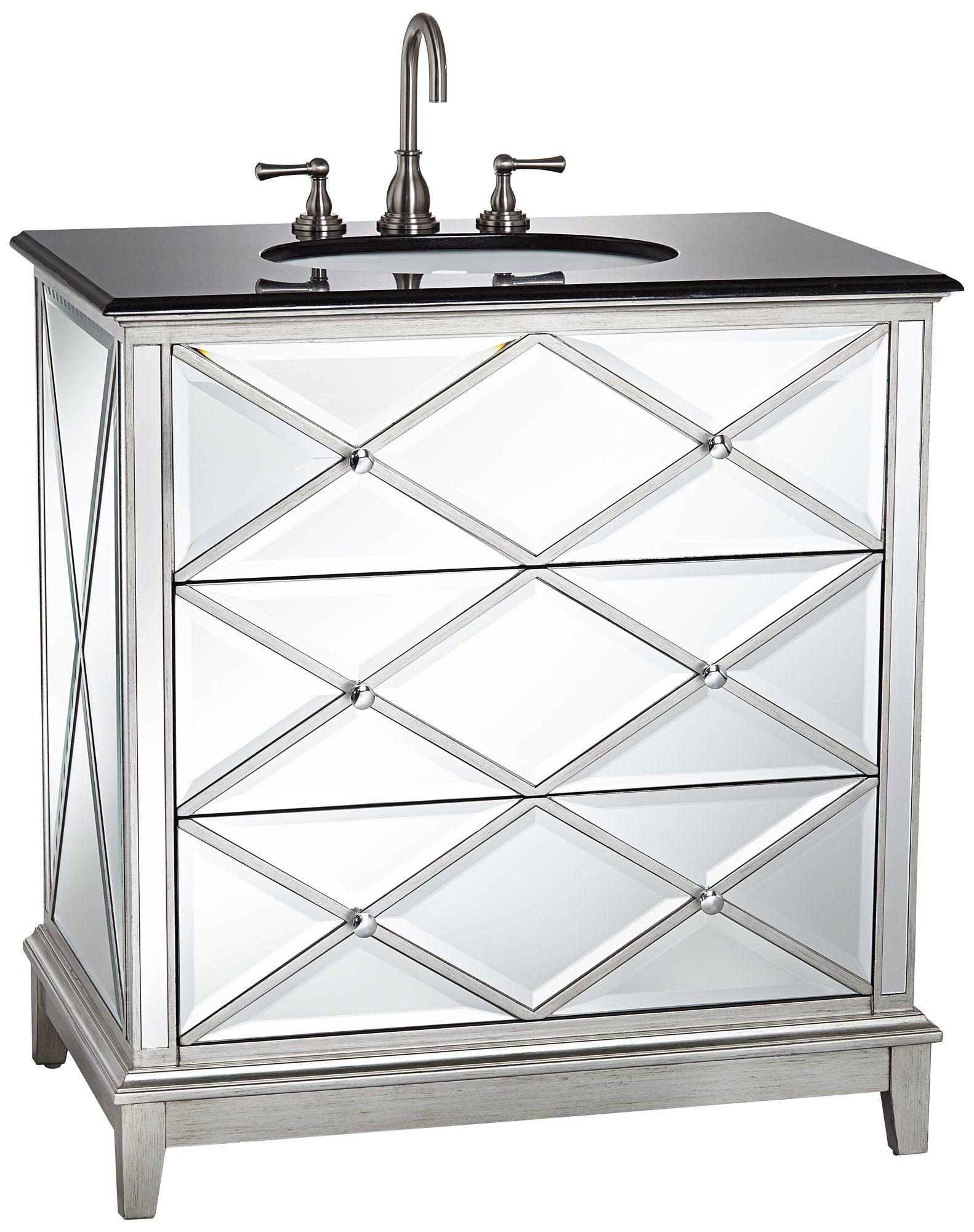 Delightful Criss Cross Mirrored Single Sink Vanity