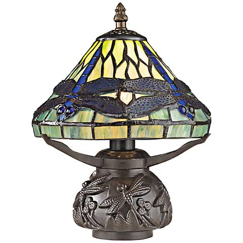 "Frado 11"" High Tiffany-Style Dragonfly Accent Table Lamp"