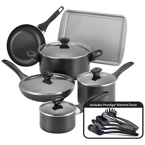 Farberware Nonstick 15-Piece Black Cookware Set