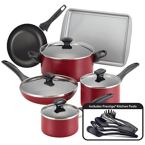 Farberware Nonstick 15-Piece Red Cookware Set