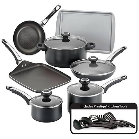 Farberware High Performance 17-Piece Black Cookware Set