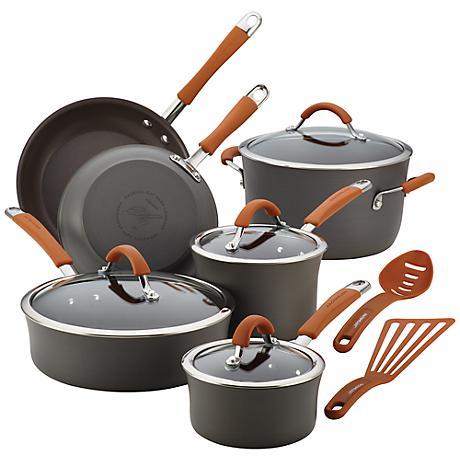 Rachael Ray Cucina 12-Piece Pumpkin Orange Cookware Set