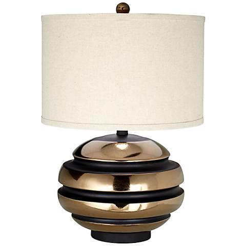 Kathy Ireland Grand Sphere Black And Gold Table Lamp