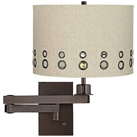 Beige Dual-Grommet Drum Bronze Plug-In Swing Arm Wall Lamp