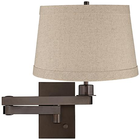 Natural Linen Drum Shade Bronze Plug-in Swing Arm Wall Lamp