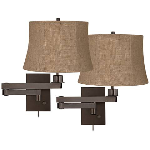 Set of 2 Bronze Natural Burlap Shade Swing Arm Wall Lamps