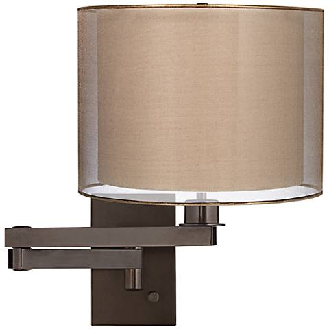 Sheer Bronze Drum Shade Bronze Plug-in Swing Arm Wall Lamp