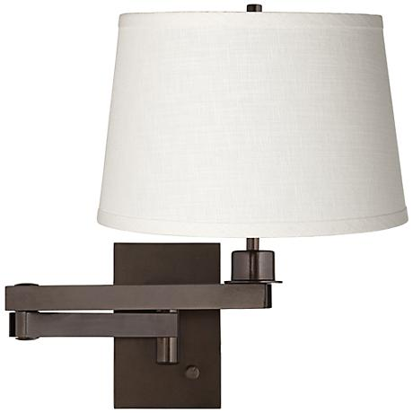 shade bronze plug in swing arm wall lamp 5d685 k4850 lamps plus. Black Bedroom Furniture Sets. Home Design Ideas