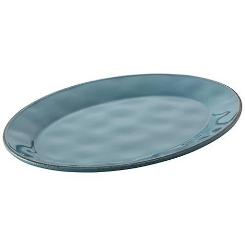 "Rachael Ray Cucina 10"" x 14"" Agave Blue Oval Platter"