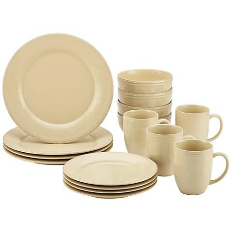 Rachael Ray Cucina 16-Piece Almond Cream Dinnerware Set
