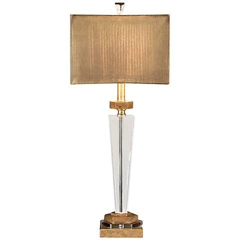 John Richard Award Antique Brass and Crystal Table Lamp