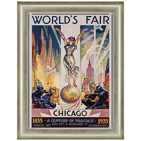 """Chicago World's Fair 1933 36"""" High Framed Wall Art"""