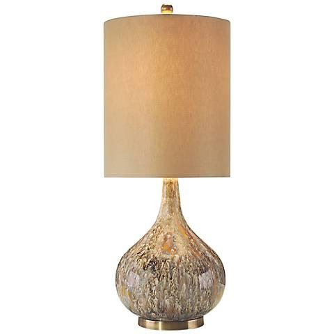 John Richard Squattle Drip Glaze and Brass Table Lamp