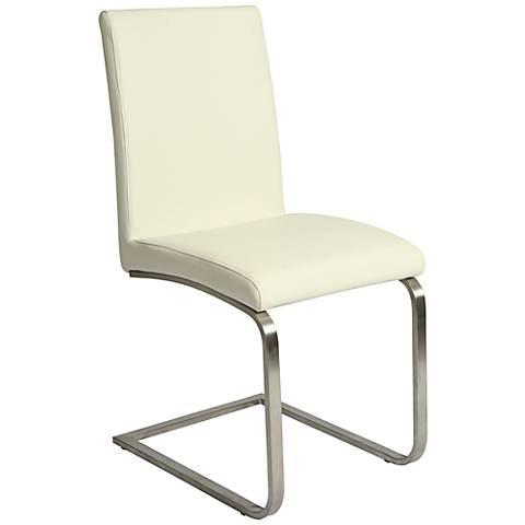 Impacterra Monaco White Ivory Faux Leather Side Chair