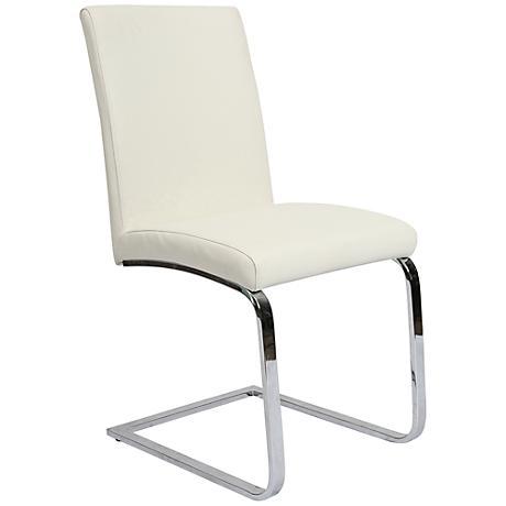 Impacterra Monaco Ivory Faux Leather Side Chair
