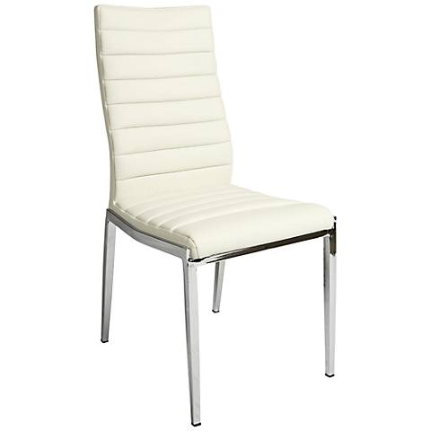 Impacterra Trinity Ivory Faux Leather Side Chair