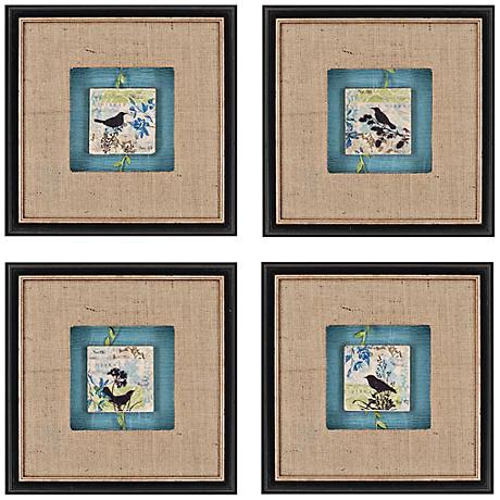 set of 4 black bird tiles 14 square framed wall art 5f659 lamps plus. Black Bedroom Furniture Sets. Home Design Ideas