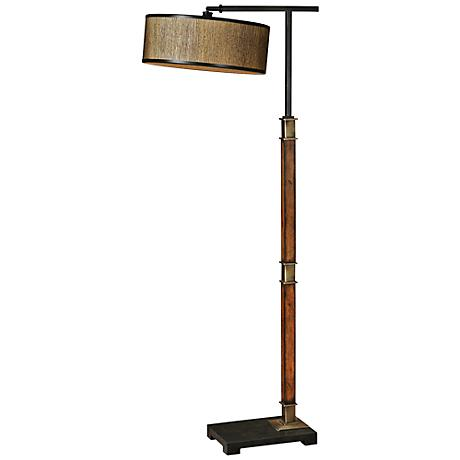Uttermost Allendale Grass Cloth and Wood Floor Lamp