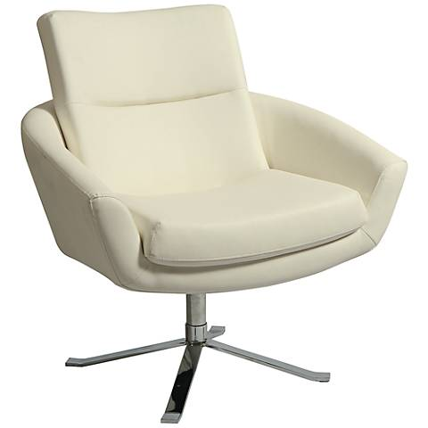 Impacterra Aliante Ivory and Chrome Club Chair