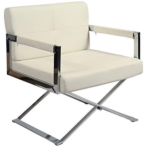Impacterra Decumani Ivory and Chrome Club Chair