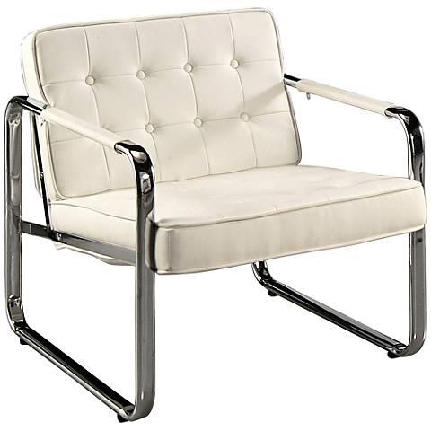 Impacterra Tibet Ivory and Chrome Club Chair