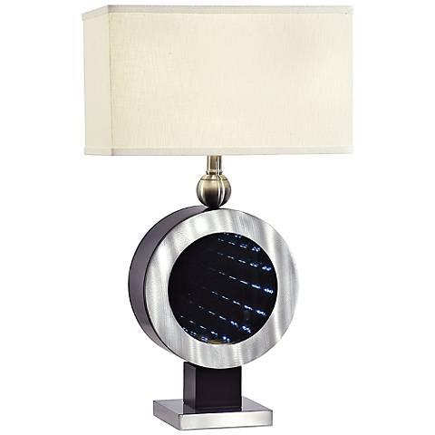 Shayne Chrome LED Night Light Circle Table Lamp