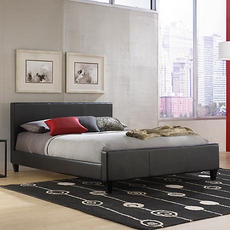 Euro Black Faux Leather Platform Beds